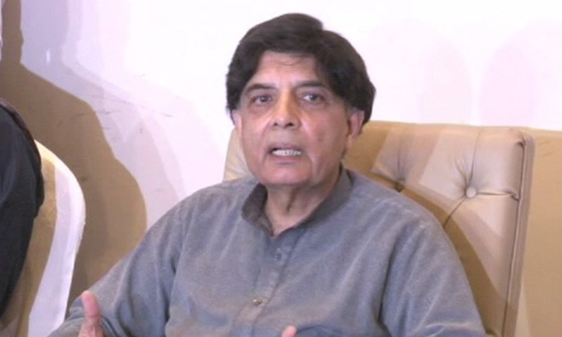 Ex-interior minister Chaudhry Nisar addresses a press conference in Taxila on Saturday. — DawnNewsTV