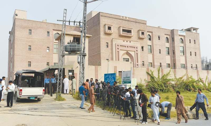 A VIEW of the building where the trial of the Sharif family is being held.