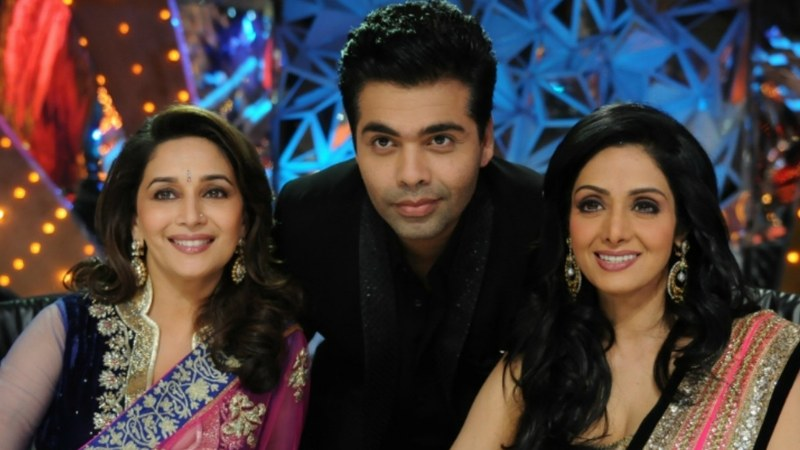 From L-R: Madhuri, Karan Johar and Sridevi