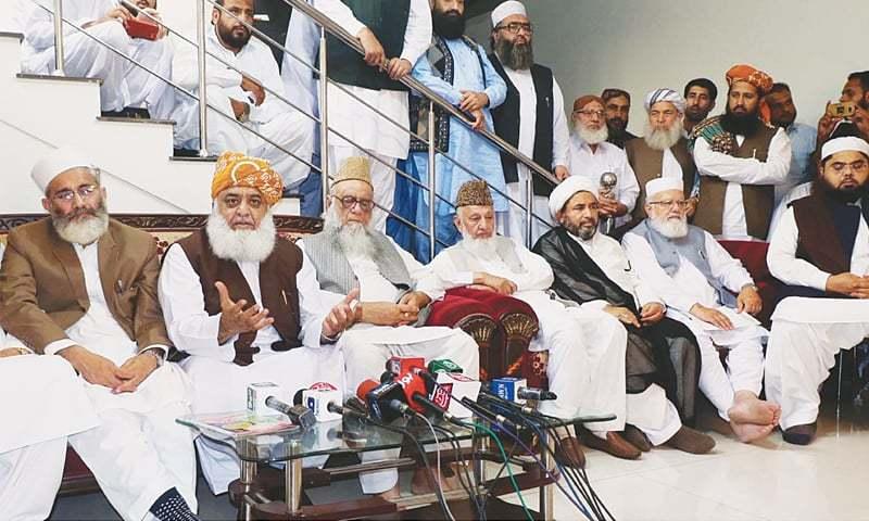 MUTTAHIDA Majlis-i-Amal President Fazlur Rehman addresses the press conference.—Online