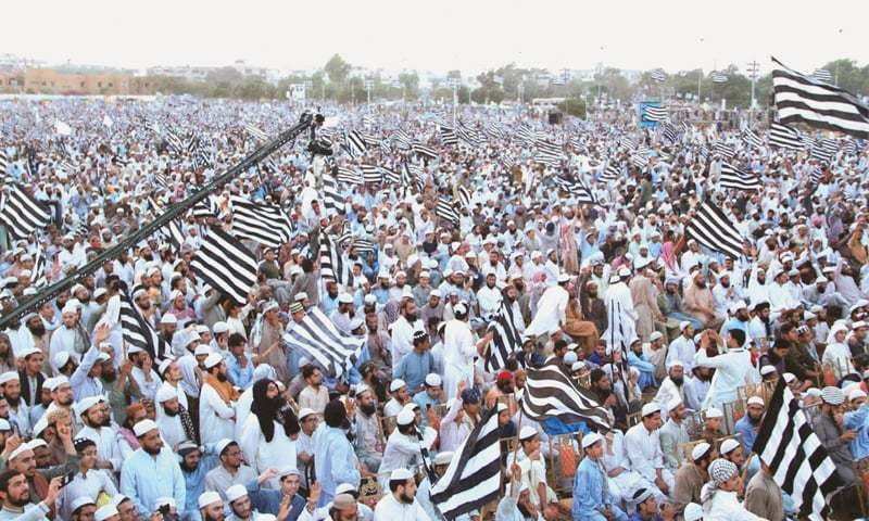 KARACHI: Jamiat Ulema-i-Islam-Fazl supporters attend the Islam Zindabad conference at Bagh-i-Jinnah on Thursday.—Online