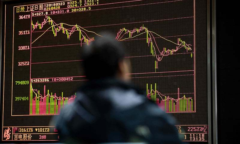 A man monitors stock price movements at a securities company in Beijing on March 23, 2018. — AFP