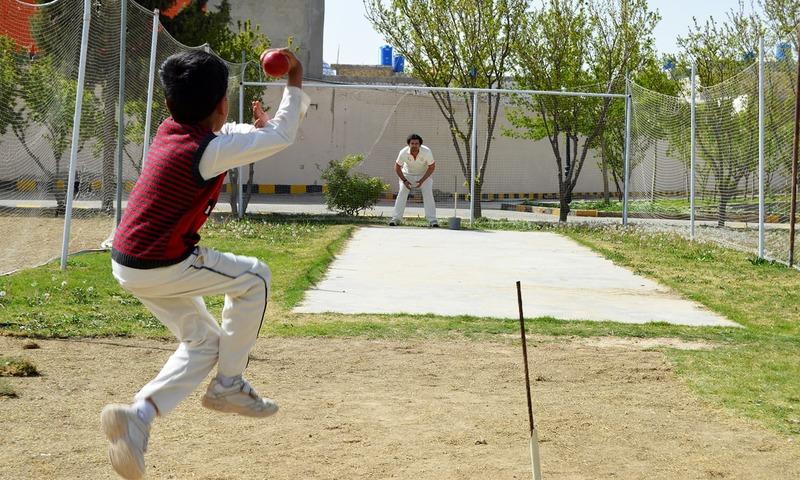 Eli's father had a pitch constructed at a park close to their home in Quetta for his son to practice on. ─Photo credit: Abdul Waheed