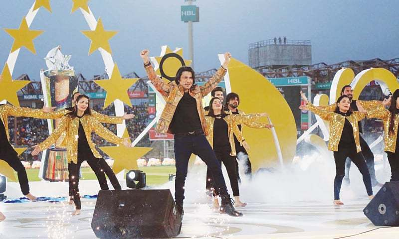 Singer Ali Zafar dazzles his jam-packed audience during the closing ceremony of the PSL at the National Stadium on Sunday.—Online