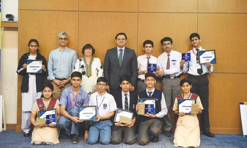 WINNERS of Maths Challenge '18 proudly pose with the organisers