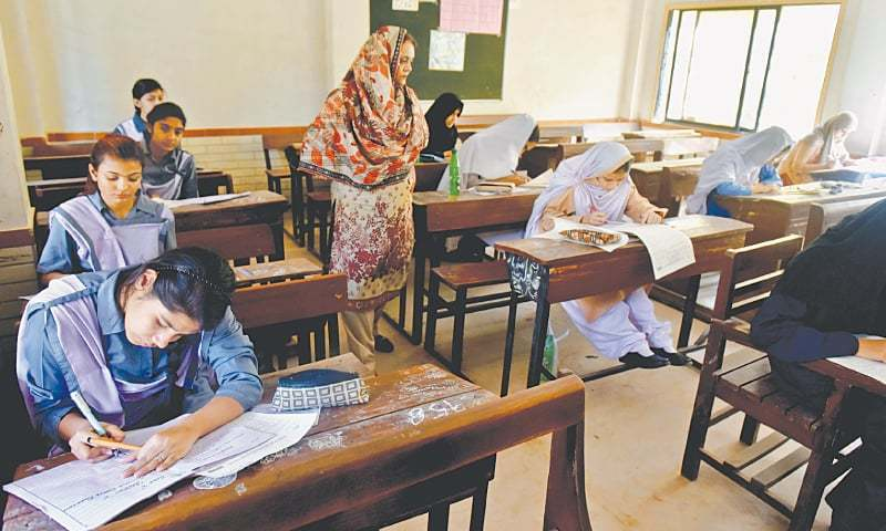 FEMALE candidates of the SSC Science group appearing for the Pakistan Studies paper on Wednesday.—White Star