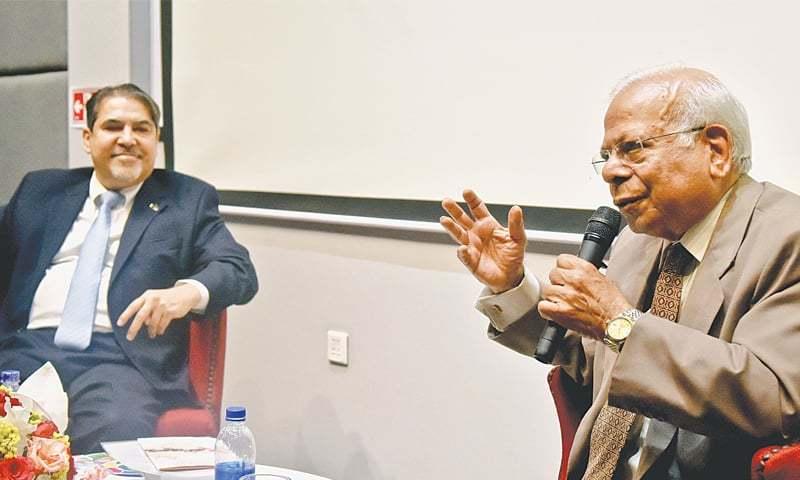 DR Ishrat Husain speaks at the IBA on Friday.—Fahim Siddiqi / White Star