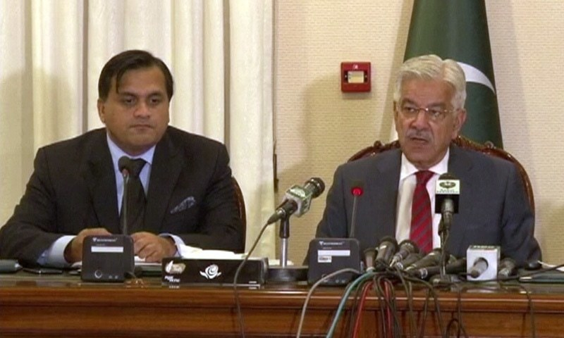 Khawaja Asif briefs the media about the federal cabinet's resolution. — DawnNewsTV