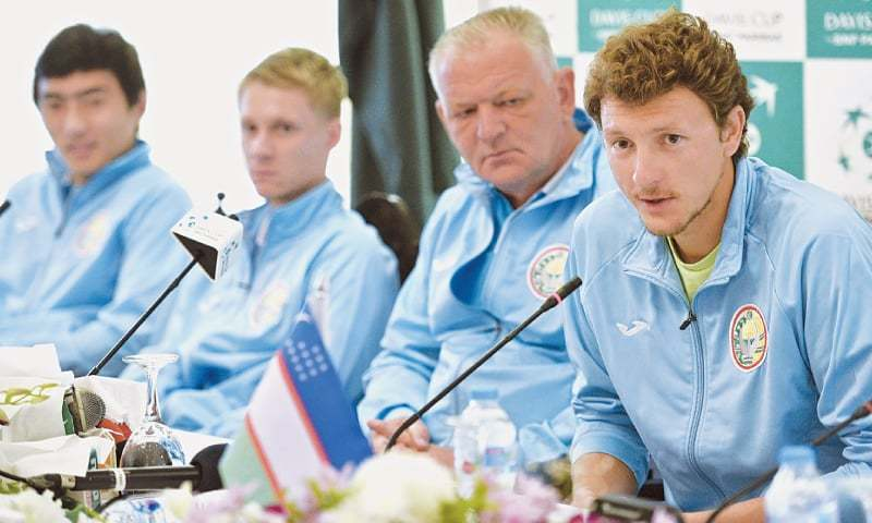 UZBEKISTAN'S tennis player Denis Istomin speaks during the press conference.—White Star