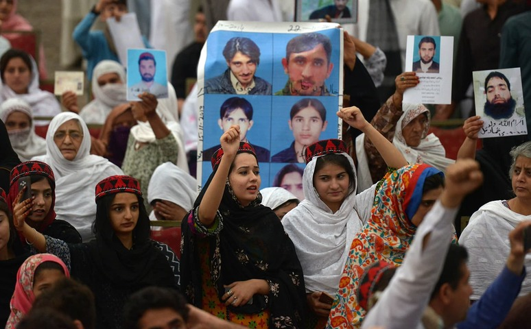 Demonstrators of Pashtun Protection Movement gather at a public rally in Peshawar on April 8, 2018.  — AFP