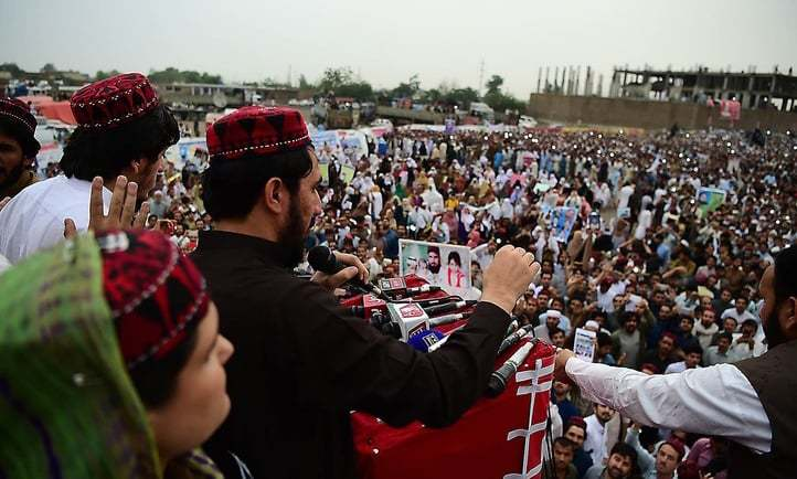 Demonstrators of Pashtun Protection Movement gather at a public rally in Peshawar — AFP