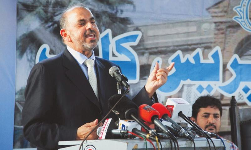 Lord Nazir Ahmed speaks at the press conference on Sunday.—PPI