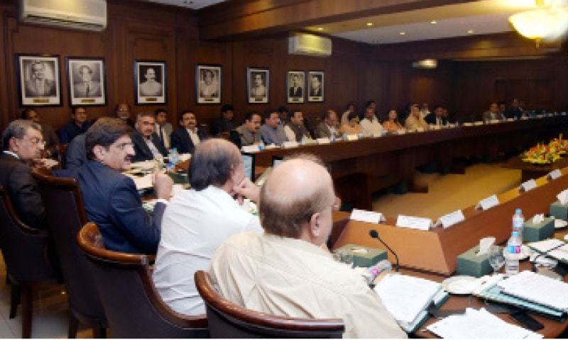 THE chief minister presides over the cabinet meeting at Sindh Secretariat on Monday.—PPI