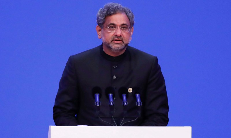 Prime Minister Shahid Khaqan Abbasi speaks during the opening of the Boao Forum for Asia (BFA) Annual Conference.  — AFP