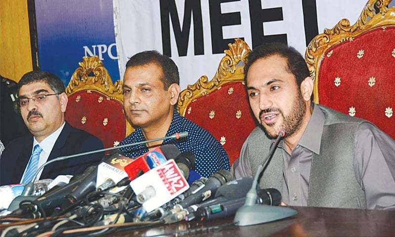 ISLAMABAD: Balochistan Chief Minister Mir Abdul Quddus Bizenjo speaking at the press conference on Wednesday.—PPI