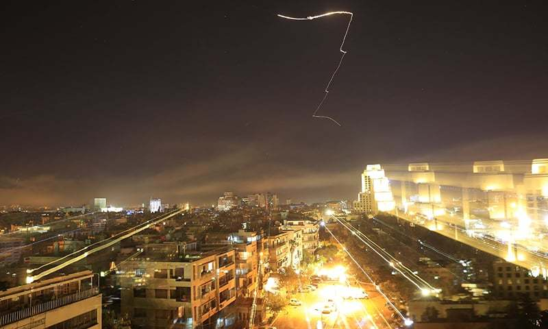 Damascus is seen as the US. launches an attack on Syria targeting different parts of the capital early Saturday, April 14, 2018. — AP