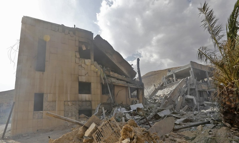 The wreckage of a building described as part of the Scientific Studies and Research Centre compound in the Barzeh district, north of Damascus. The building included scientific labs and a training centre.  —AFP