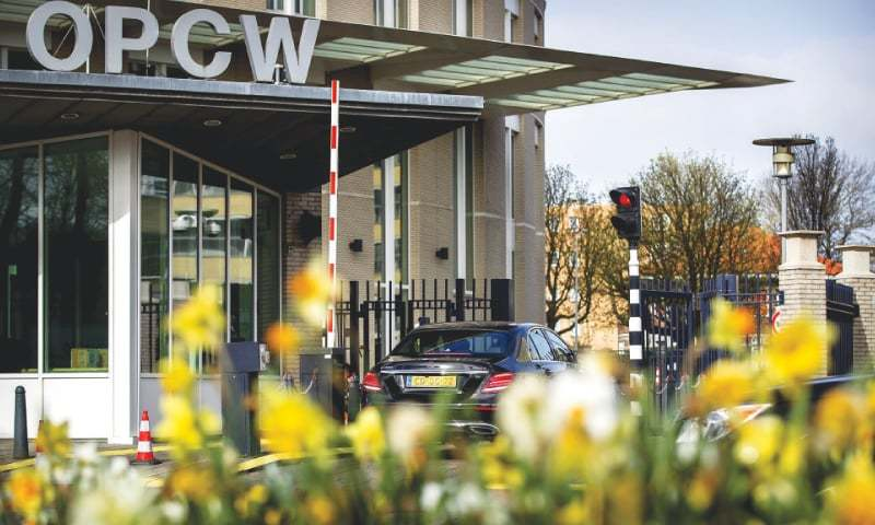 "THE HAGUE: The headquarters of the Organisation for the Prohibition of Chemical Weapons (OPCW) in The Netherlands where chemical weapons experts seeking to probe an alleged poison gas attack in Douma were holding closed door talks on Monday after they were stopped from going to Douma due to ""security concerns"".—AFP"