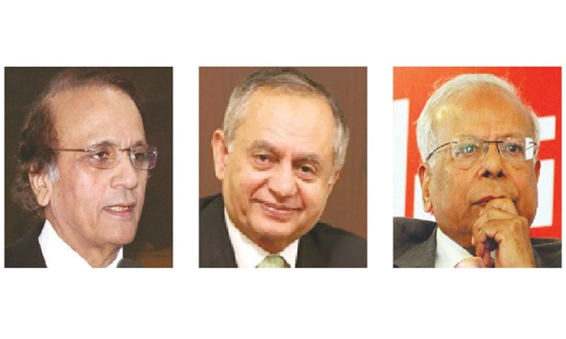 (From left) Former chief justice of Pakistan Tassaduq Hussain Jilani, businessman Abdur Razzaq Dawood and economist Dr Ishrat Husain are PTI nominees for caretaker PM office.