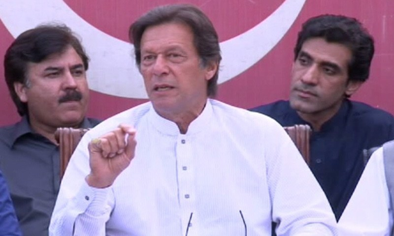 PTI Chairman Imran Khan speaks to media. — DawnNews TV