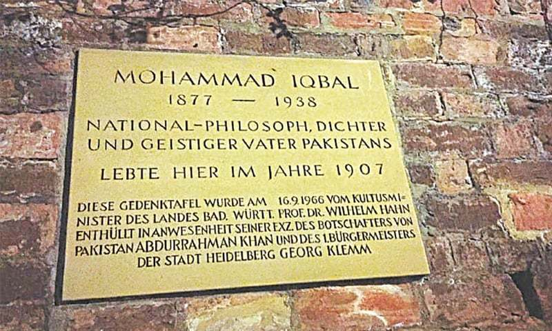 A plaque commemorating Allam Muhammad Iqbal's stay at Heidelberg in Germany, where there is also a street named after Pakistan's national poet | Dawn file photo