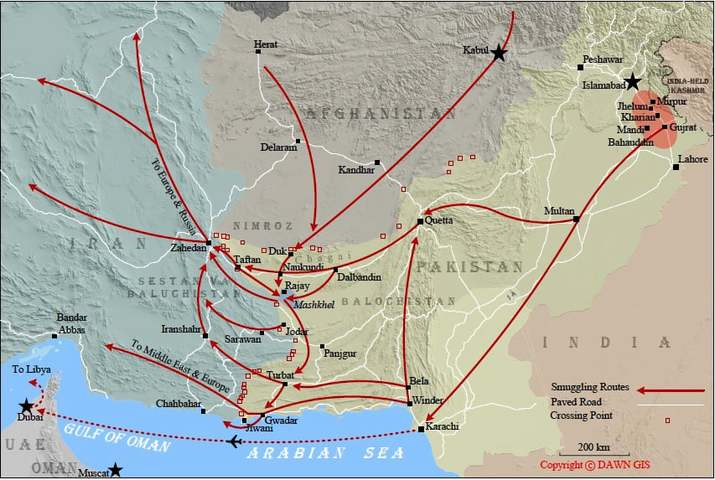 Some of the many routes taken by illegal migrants through Balochistan to reach various destinations. Click to enlarge.