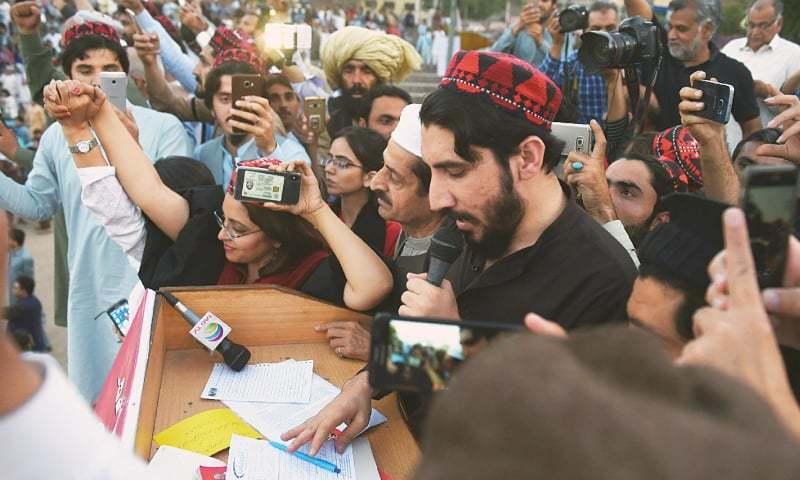 Lahore: Pashtun Tahaffuz Movement leader Manzoor Pashteen speaks at the rally.—AFP