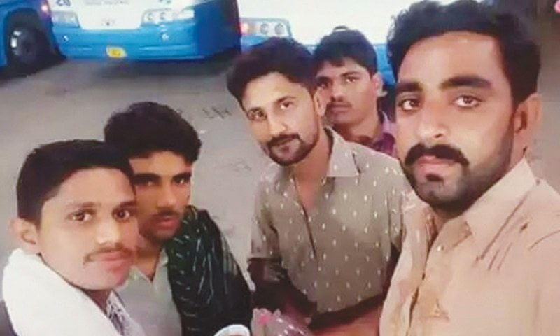 A SELFIE taken upon their arrival at a Quetta bus station by some of the young men who were later murdered in Kech by Baloch insurgents.