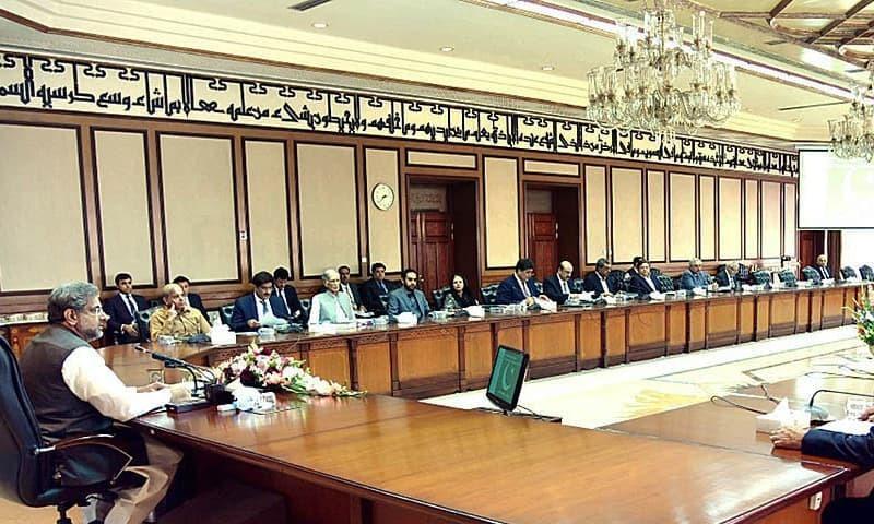 Shahid Khaqan Abbasi chairs 37th meeting of the CCI at PM Office. —APP