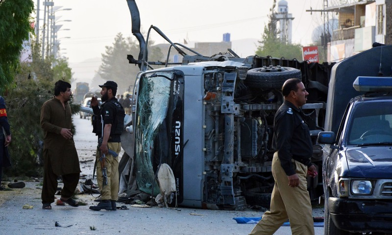 Security officials cordon off the site of a suicide bombing attack in Quetta. —AFP