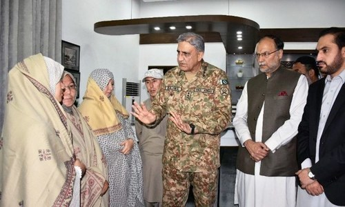Gen Bajwa meets a delegation of female members of the community. — DawnNewsTV