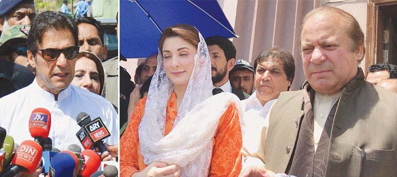 IMRAN Khan talking to media after his acquittal in the case about attack on a police officer. (Right) Former prime minister Nawaz Sharif along with Maryam Nawaz speaking to journalists after appearing in the accountability court on Friday.—PPI/Online