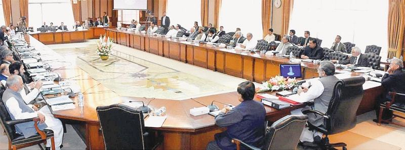ISLAMABAD: Prime Minister Shahid Khaqan Abbasi chairs a meeting of the federal cabinet at Prime Minister's Office on Tuesday.—INP