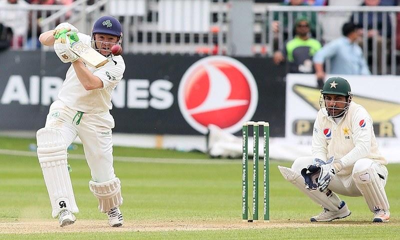 Ireland's Niall O'Brien plays a shot on day four of Ireland's inaugural test match against Pakistan — AFP
