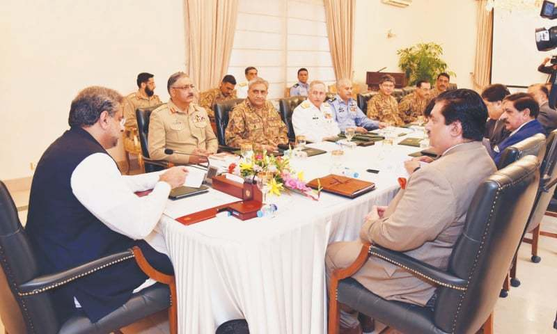 ISLAMABAD: Prime Minister Shahid Khaqan Abbasi chairs a meeting of the National Security Committee at PM House on Monday.