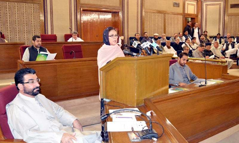 Adviser to the Chief Minister on Finance Dr Ruqayya Saeed  Hashmi presents the Balochistan budget 2018-19 in the provincial  assembly on Monday.—PPI