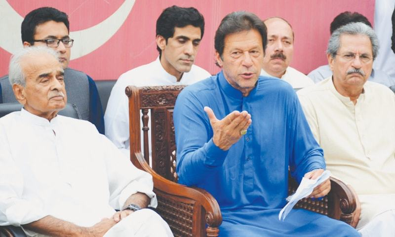 Pakistan Tehreek-i-Insaf chairman Imran Khan addresses a press conference on  Monday.—Tanveer Shahzad / White Star