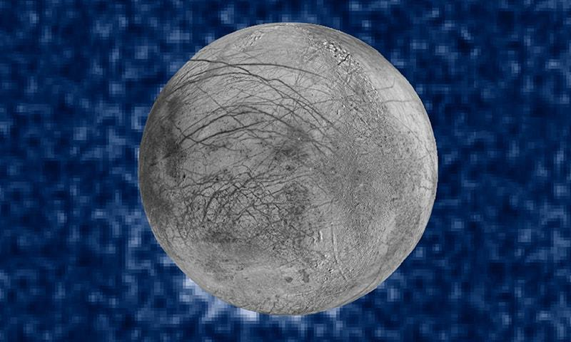 (FILES) In this file composite image released by NASA on September 26, 2016 shows suspected plumes of water vapor erupting at the 7 o'clock position (Bottom-L) off the limb of Jupiter's moon Europa. ─ AFP