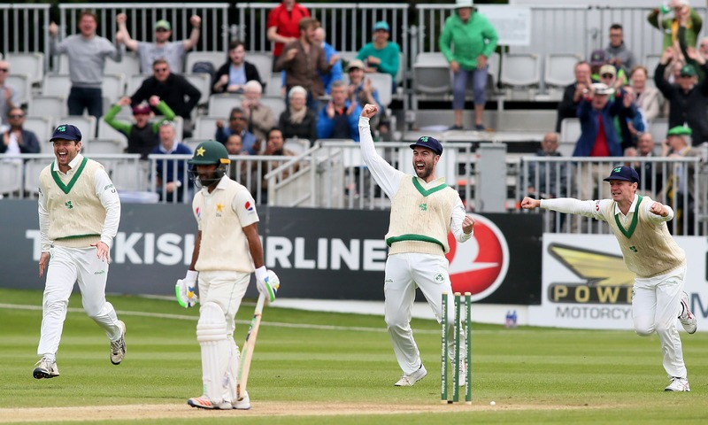 Ireland's Andrew Balbirnie reacts after Pakistan's Asad Shafiq lost his wicket for one run on the final day of Ireland's inaugural test match against Pakistan at Malahide cricket club in Dublin