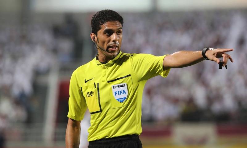 In this file photo taken on October 18, 2016 Saudi referee Fahad al-Mirdasi gestures during the Asian Champions League football return match between Qatar's El-Jaish and UAE's Al-Ain at the Abdullah Bin Khalifa Stadium in Doha. — AFP