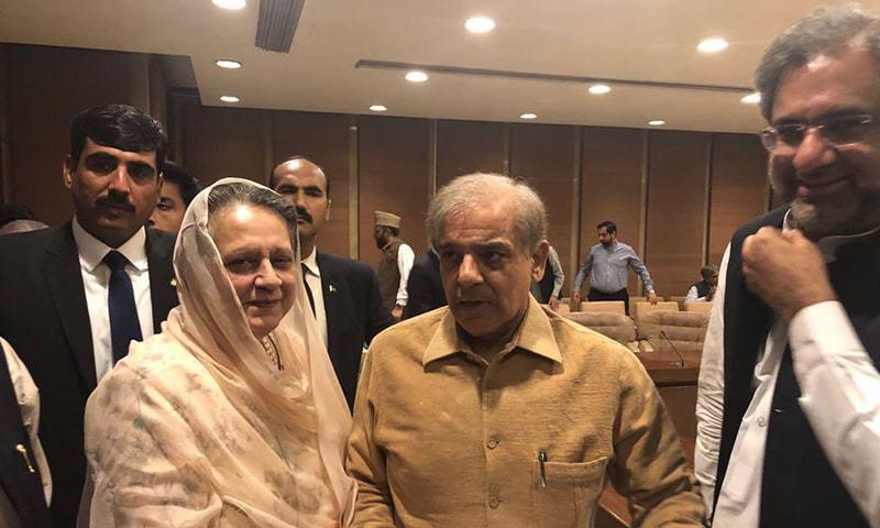 رکن قومی اسمبلی مسرت احمد زیب مسلم لیگ (ن) کے رہنماؤں سے ملاقات کررہی ہیں — فوٹو: جاوید حسین