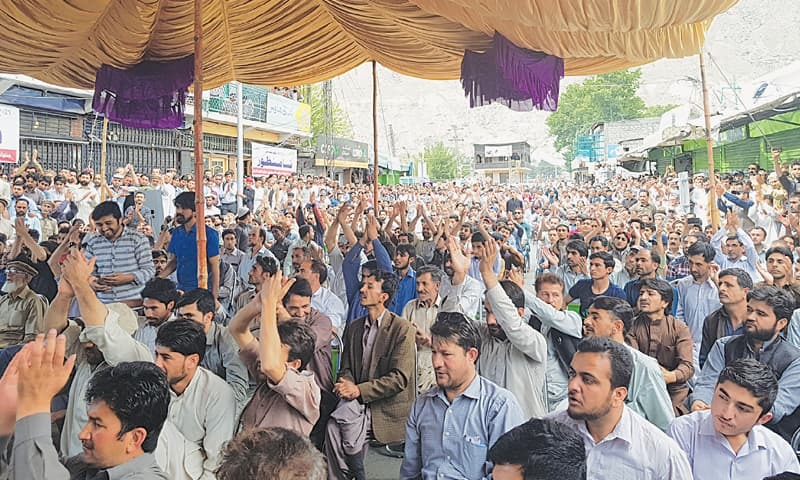 SKARDU: A demonstration against the newly introduced Gilgit-Baltistan Order 2018 was held at Yadgaar Chowk on Friday. More than 3,000 people belonging to various political and religious parties and trade and student organisations were in attendance. Similar protests were held all over GB.—Dawn