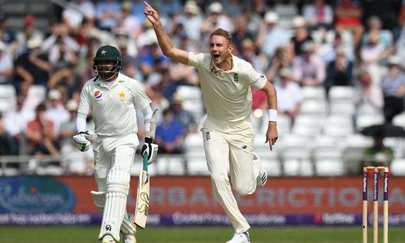 England's Stuart Broad appeals unsuccessfully for a wicket as he bowls on the first day of the second Test cricket match between England and Pakistan at Headingley cricket ground in Leeds, northern England on Friday. — AFP