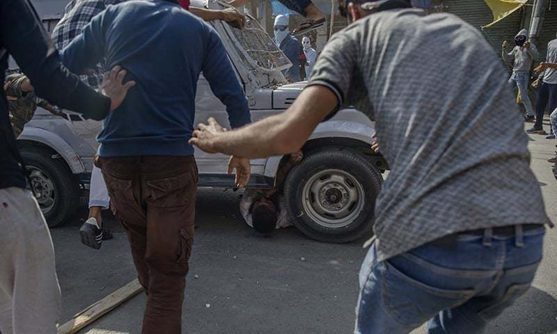 Kashmir on edge after CRPF vehicle mows down protester