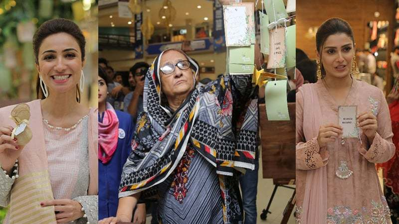 We spotted Bilquis Edhi, Anoushay Ashraf and Ayeza Khan in Dolmen City Mall supporting Surf Excel's neki campaign.