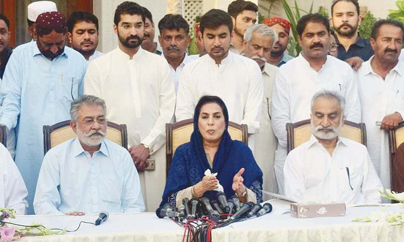 KARACHI: Former National Assembly Speaker Dr Fehmida Mirza and her husband former Sindh home minister Zulfiqar Mirza address a press conference at their residence on Sunday after joining the Grand Democratic Alliance.—PPI