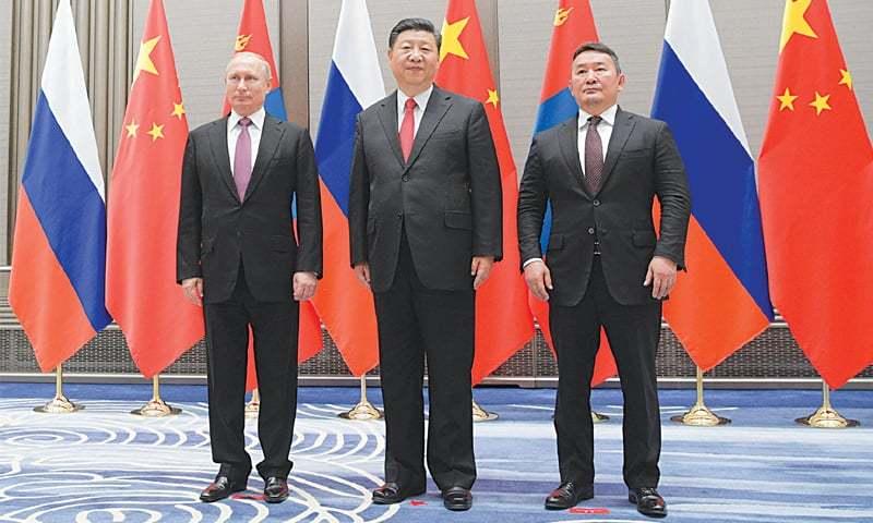 Qingdao: Russian President Vladimir Putin, Chinese President Xi Jinping and Mongolian President Khaltmaagiin Battulga at the Shanghai Cooperation Organisation Summit on Saturday.—Reuters