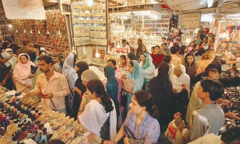 A View of eid shopping in Karachi.—White Star