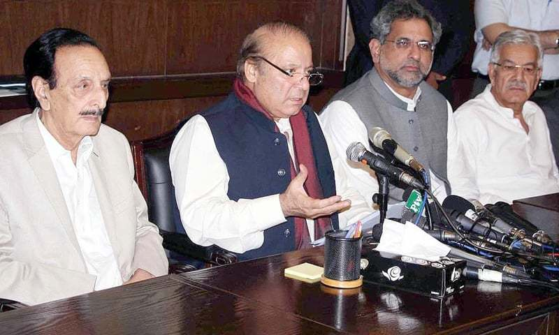 LAHORE: Former prime minister Nawaz Sharif addresses a press conference on Monday.—INP