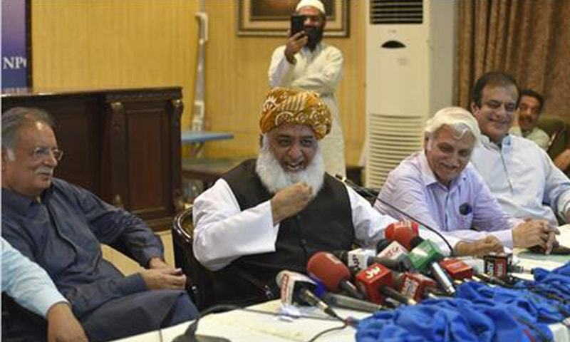 ISLAMABAD: Jamiat Ulema-i-Islam chief Maulana Fazlur Rehman speaks at the seminar on Tuesday.—Tanveer Shahzad/White Star